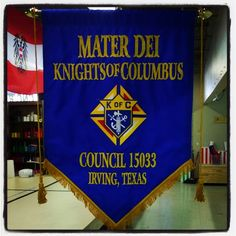 Custom sewn banner for the Knights of Columbus organization in Irving, Texas. Irving Texas, Knights Of Columbus, Flags, Banners, Organization, Cook, Sewing, Prints, Recipes
