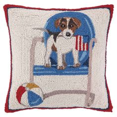 Showcasing a charming pup eager to play, this wool and cotton pillow pays homage to your favorite four-legged friend.