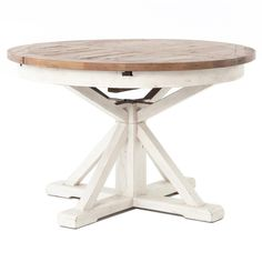 Amazon.com - Barnes Modern Classic Round Wood Whitewash Extension Dining Table - 48 - 63 inch - Tables