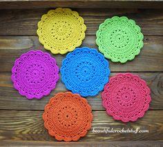 Crochet Coaster Free Pattern by janegreen Crochet Bookmark Pattern, Crochet Bedspread Pattern, Crochet Socks Pattern, Crochet Coaster Pattern, Crochet Bookmarks, Crochet Patterns, Quick Crochet, Diy Crochet, Beautiful Crochet