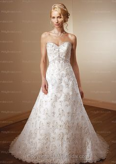 A-line Sweetheart Embroidery Lace Sweep Train Wedding Dress at Millybridal.com