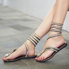 ab511ed8ba06d Fashion Womens Flat Heel Bling Rhinestone slingbacks gladiator Sandals shoes  new in Clothing