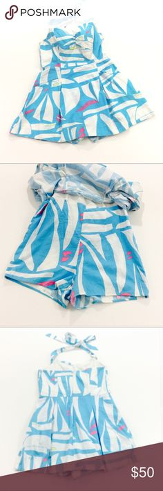 Lilly Pulitzer Take Me Away halter romper size 4 Lilly Pulitzer Take Me Away halter romper size 4. Romper ties the back of the neck, has a 12 inch back zipper, two front pockets and boning in the top. Measurements taken from the back the bust is 30 inches, the length measured from under the arm is 20 1/2 inches the shorts have an inseam of 2 1/2 inches. All measurements are approximate. GUC questions??? Please ask Lilly Pulitzer Pants Jumpsuits & Rompers