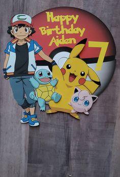 Pokemon/ Pikachu cake topper Homemade Birthday Cards, Kids Birthday Cards, Frozen Birthday Party, 4th Birthday, Birthday Shirts, Pokemon Cake Topper, Diy Cake Topper, Cake Toppers, Bolo Pikachu