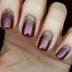 Maroon Gold Glitter Nails