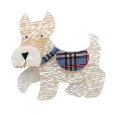 Erstwilder's Wallace the scottie dog comes back with pearl coat and a blue tartan jacket. His best disguise yet! Scottish Terrier, Resin Jewelry, Jewellery, Jewelry Necklaces, Bracelets, Stained Glass Projects, Scottie Dog, Vintage Costume Jewelry, Jewelry Branding