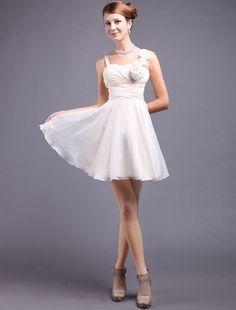 Champagne Chiffon Flower Straps Knee Length Bridesmaid Dress