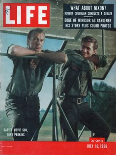 Life magazine with Gary Cooper and Tony Perkins on the cover, July 16, 1956. So many ads, so little space. There's a photo story on Marilyn Monroe marrying the playwright Arthur Miller inside, and it isn't even blurbed on the front. Many of the ads are on my Vintage Advetisements Board.