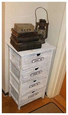 Old apothecary signs on a chest of drawers