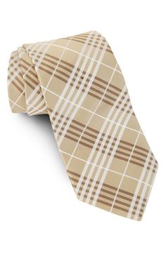 Neutral plaid tie