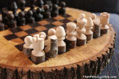 Custom Made Rustic Chess Set....Eathan would LOVE this!