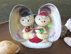 Vtg Japan Seashell Shell Figurine Japanese Couple Man Woman 60s Doll Souvenir