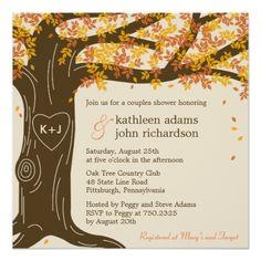 Fall Wedding Reception Cards Oak Tree Fall Wedding Shower Invitation