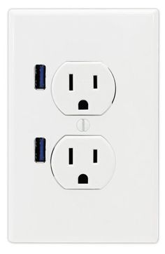 FastMac ACE-7169 U-Socket Standard Duplex Dual Outlet Dual USB, 110V, 15AMP TruePower, White.  .... Plug in your chargers NEXT to the outlets and keep the outlets free.  Yes, this really does exist right now!  This link goes to Amazon.