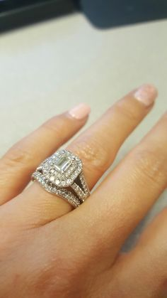 My Vera Emerald Cut Double Halo Split Shank Now With Band