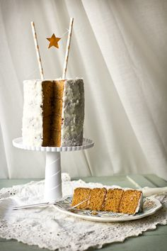 Adventures in Cooking: Thai Tea Cake with Creamed Coconut Frosting -- love a tall cake with a banner