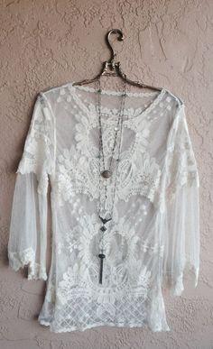 Gypsy Lace boho Wedding Blouse Romantic white sheer