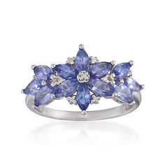 """""""1.85 ct. t.w. Tanzanite Floral Ring With Diamonds in Sterling Silver""""  ($120)   [www.Ross-Simons.com]"""