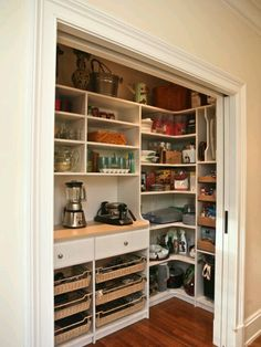 Empty kitchen closet ---> pantry