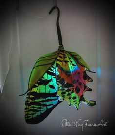 Emerging Sunset Moth silk hanging lamp with by littlewingfaerieart, $350.00