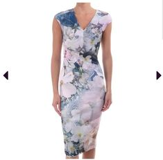 3ea833d02f71 Ted Baker Amily Tile Floral Geo Bodycon Dress Ted size 0 UK size 6 #fashion