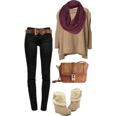 A fashion look from December 2012 featuring oversized tops, black mid rise skinny jeans and brown crossbody purse. Browse and shop related looks.
