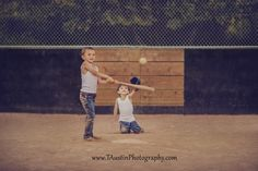 Vintage baseball photo shoot with two brothers