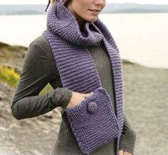 cachecol de trico modelo com bolso