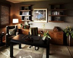 Modern Home Office Design With Leather Chair.