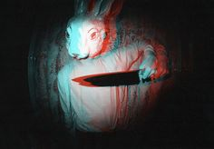 i like this bunny mask. | sharp knife. rabbit. 3D. red & blue. darkness.
