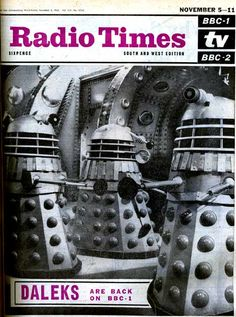 Front cover of the Radio Times for 5-11 November 1966, depicting daleks outside of a space rocket.