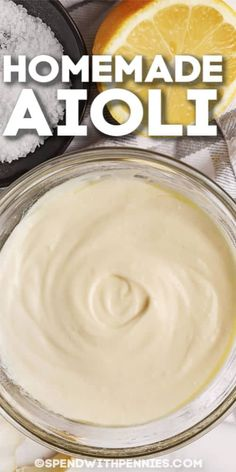 This Aioli recipe is perfect to make for game day. Everyone will love the light & creamy flavor of mayo, lemon & garlic! Garlic Aoli Recipe, Aioli Recipe, Lemon Garlic Aioli, Homemade Aioli, Homemade Sauce, Dill Dip, Sandwich Sauces, Sauces For Sandwiches, Sauce Recipes