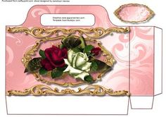 A lovely  Pink Tote bag to make and give to anyone with a little Present has lovely arrangement of roses with gold filigree   please remember to print twice to complete this bag ,