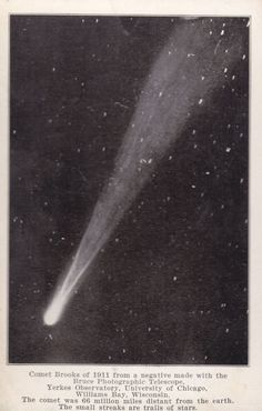 Comet Brooks of 1911  Yerkes Observatory University of Chicago vintage postcard