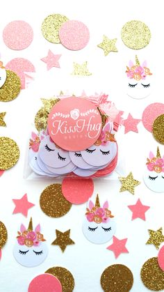 Pink and Gold Unicorn Confetti from KissHugDesign on Etsy Perfect for your Unicorn themed party.