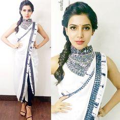 Samantha in White Plain Dhoti Saree with Embroidery border by Roshni Chopra Dhoti Saree, Anarkali, Khada Dupatta, Lehenga Choli, Saree Blouse, Salwar Kameez, Stylish Sarees, Stylish Dresses, Fashion Dresses