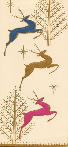 Vintage (or vintage-style) leaping reindeer Christmas card - very Deco