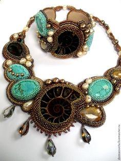 Купить Колье с аммонитом - тёмно-бирюзовый, колье, браслет, колье с камнями, украшение