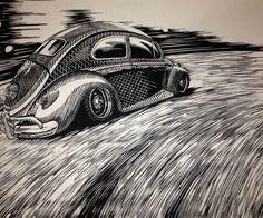 V Dub by Alex Carmona woodcut
