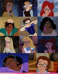 Hahaha Disney Princesses in Glasses