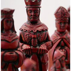 Large crushed marble and resin red and ivory chess set. Camelot, round table and the knights! BC3006. Brought to you by ChessBaron.co.uk and ChessBaron.com