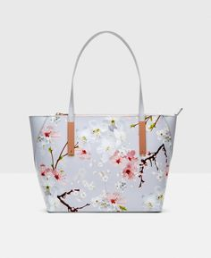 Oriental Blossom leather small shopper
