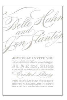 "Vintage-Inspired Gray and White Invitation. ""Cheri"" flat-printed wedding invitation, $237 for 100 invitations, Love vs. Design"