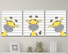 Baby Giraffe Nursery Art.  Yellow And Grey Nursery Art Decor. Giraffe Nursery Art Prints -P221,222,223 by HopAndPop on Etsy https://www.etsy.com/listing/269383061/baby-giraffe-nursery-art-yellow-and-grey