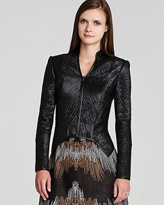 BCBGMAXAZRIA Jacket - Jagger Faux Leather Strips | Bloomingdale's