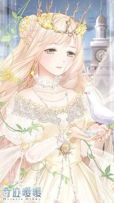 Anime royalty...beautiful...blonde...light colors...blushing...cute...kawaii