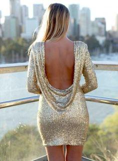Gold Sequin Long Sleeve Deep Plunge Drape Back,  Dress, gold open back scoop sequined, Chic