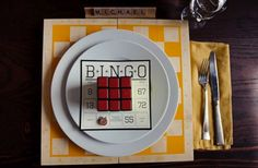 bingo themed wedding reception place setting- how to choose the order of tables for the buffet line!