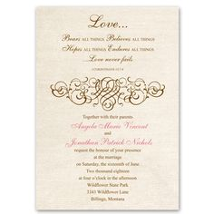 rustic love wedding invitation | Christian wedding invites at Ann's Bridal Bargains