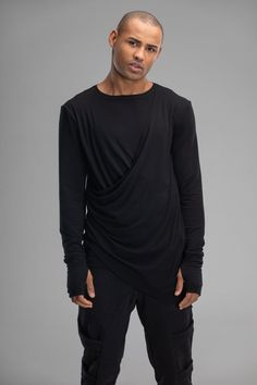 Black draped jumper men sweater cyber goth top thumbhole image 5 Pinterest For Men, Punk Looks, Black Long Sleeve Shirt, Cyberpunk Fashion, Punk Outfits, Latest Mens Fashion, Mens Jumpers, Everyday Look, Hooded Jacket